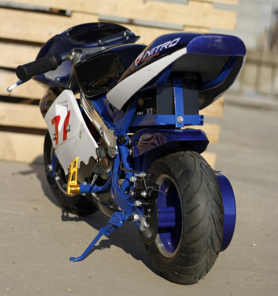 Mini Motocicleta electrica pentru copii NITRO Eco Pocket Bike 1000W #Albastru 3