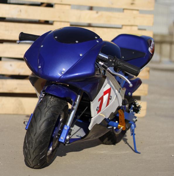 Mini Motocicleta electrica pentru copii NITRO Eco Pocket Bike 1000W #Albastru 2