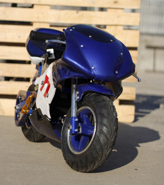 Mini Motocicleta electrica pentru copii NITRO Eco Pocket Bike 1000W #Albastru 1