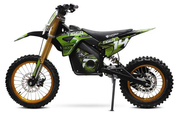 Motocicleta electrica Eco Tiger 1300W 14/12 48V 14Ah Lithiu ION #Verde 1