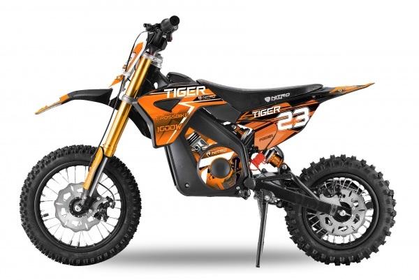 Motocicleta electrica Eco Tiger 1300W 14/12 48V 14Ah Lithiu ION #Portocaliu 0