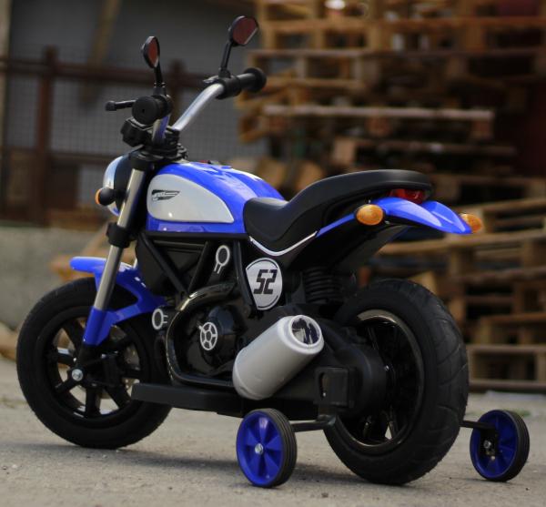 Motocicleta electrica pentru copii BT307 2x20W CU ROTI Gonflabile #Albastru 4