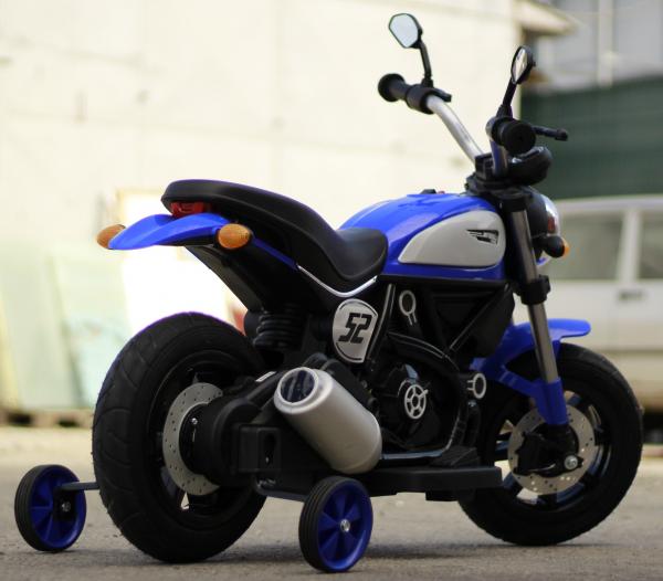 Motocicleta electrica pentru copii BT307 2x20W CU ROTI Gonflabile #Albastru 5