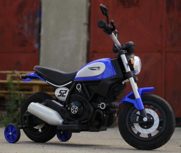 Motocicleta electrica pentru copii BT307 2x20W CU ROTI Gonflabile #Albastru 2