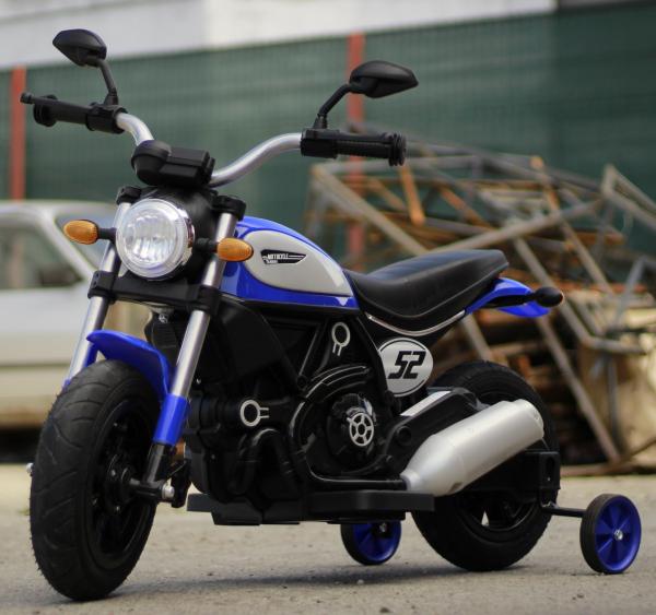 Motocicleta electrica pentru copii BT307 2x20W CU ROTI Gonflabile #Albastru 3