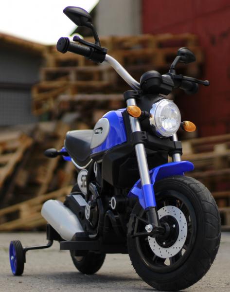 Motocicleta electrica pentru copii BT307 2x20W CU ROTI Gonflabile #Albastru 1