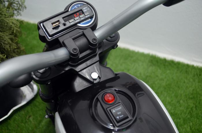 Motocicleta electrica pentru copii BT307 60W CU ROTI Gonflabile #Negru [6]