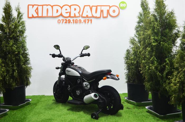 Motocicleta electrica pentru copii BT307 60W CU ROTI Gonflabile #Negru [5]