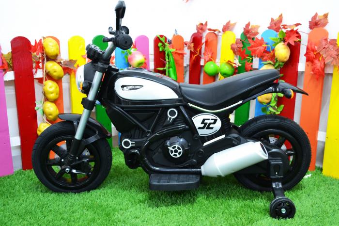 Motocicleta electrica pentru copii BT307 60W CU ROTI Gonflabile #Negru [11]