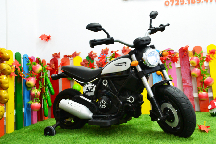 Motocicleta electrica pentru copii BT307 60W CU ROTI Gonflabile #Negru [2]