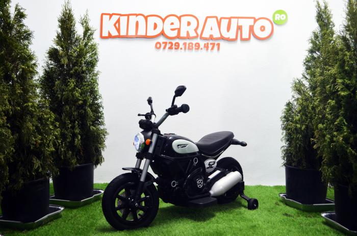 Motocicleta electrica pentru copii BT307 60W CU ROTI Gonflabile #Negru [4]