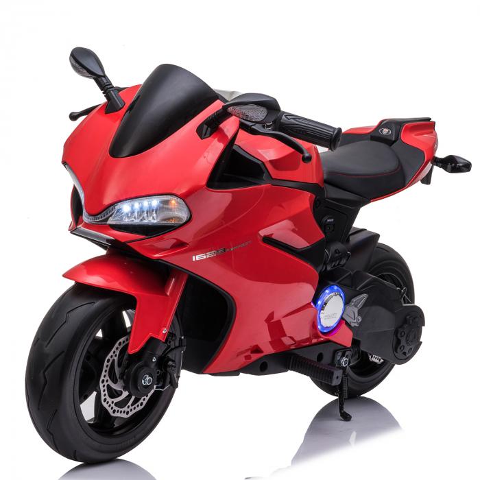 Motocicleta electrica pentru copii Kinderauto SX1629, putere 250W, 24V, roti moi cauciuc EVA, Rosie [0]