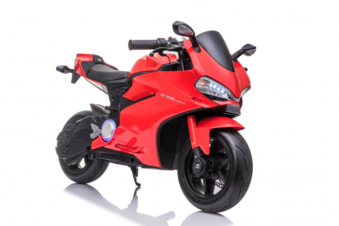 Motocicleta electrica pentru copii Kinderauto SX1629, putere 250W, 24V, roti moi cauciuc EVA, Rosie [2]