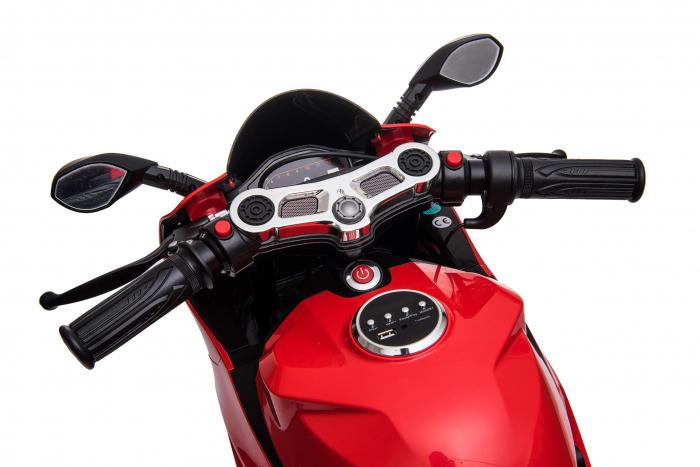 Motocicleta electrica pentru copii Kinderauto SX1629, putere 250W, 24V, roti moi cauciuc EVA, Rosie [6]