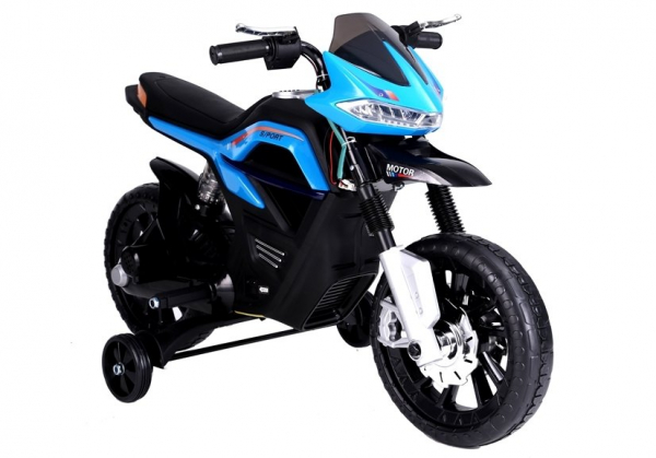 Motocicleta electrica pentru copii, motor 45W, albastra 0