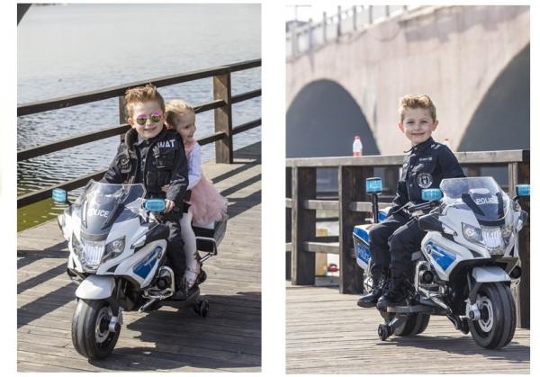 Motocicleta electrica POLICE BMW R1200 CU ROTI MOI #Alb 6