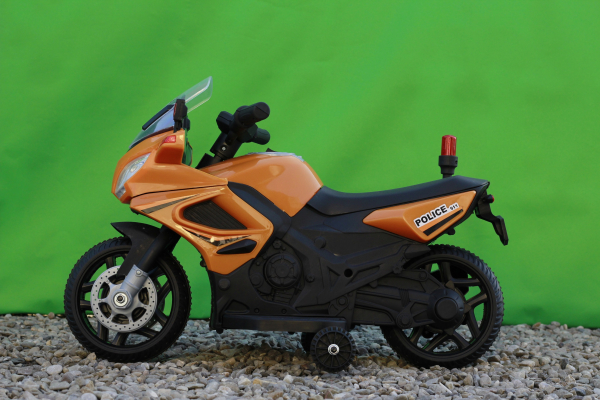 Motocicleta electrica POLICE cu roti ajutatoare STANDARD #Orange 4