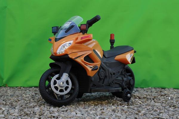 Motocicleta electrica POLICE cu roti ajutatoare STANDARD #Orange 3