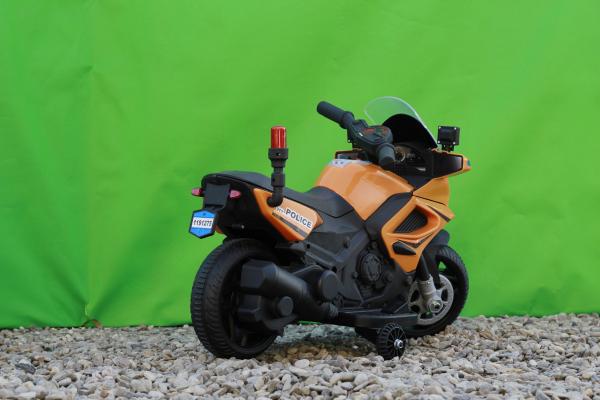 Motocicleta electrica POLICE cu roti ajutatoare STANDARD #Orange 6