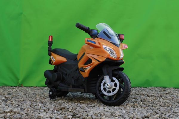 Motocicleta electrica POLICE cu roti ajutatoare STANDARD #Orange 2