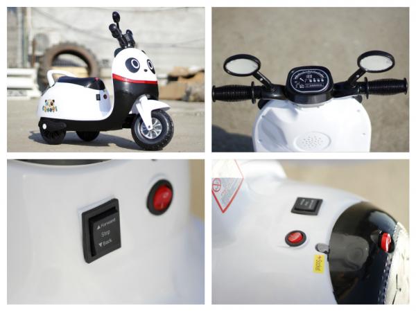 Tricicleta electrica pentru copii Panda 20W 6V #Alb 4