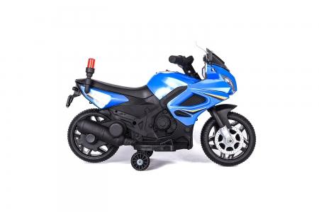 Motocicleta electrica POLICE cu roti ajutatoare STANDARD #Albastru 1