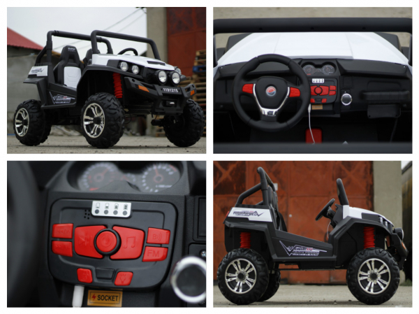 UTV electric pentru copii Golf-Kart 4x45W 2x12V PREMIUM #ALB 7