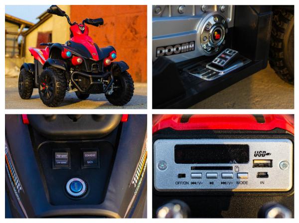 ATV Electrica pentru copii Dooma EVA - Quad 2x 45W 12V #Rosu 8