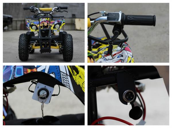 Mini ATV electric pentru copii NITRO Torino Quad 1000W 48V #Galben 7