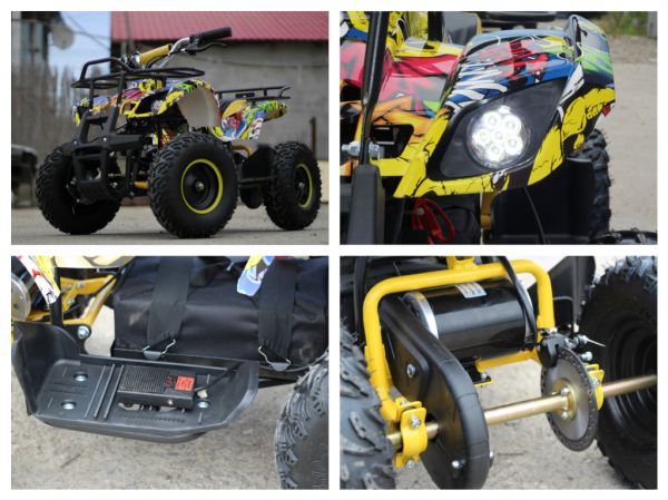 Mini ATV electric pentru copii NITRO Torino Quad 1000W 48V #Galben 8