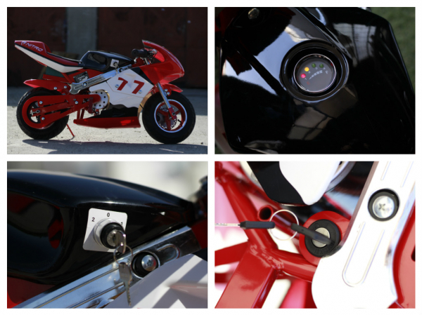 Mini Motocicleta electrica pentru copii NITRO Eco Pocket Bike 1000W #Rosu 6
