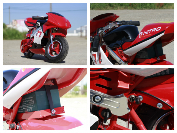 Mini Motocicleta electrica pentru copii NITRO Eco Pocket Bike 1000W #Rosu 8