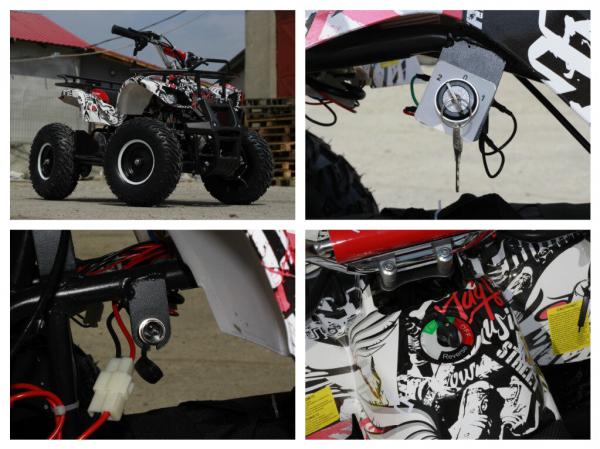Mini ATV electric pentru copii NITRO Torino Quad 1000W 48V #Alb 5