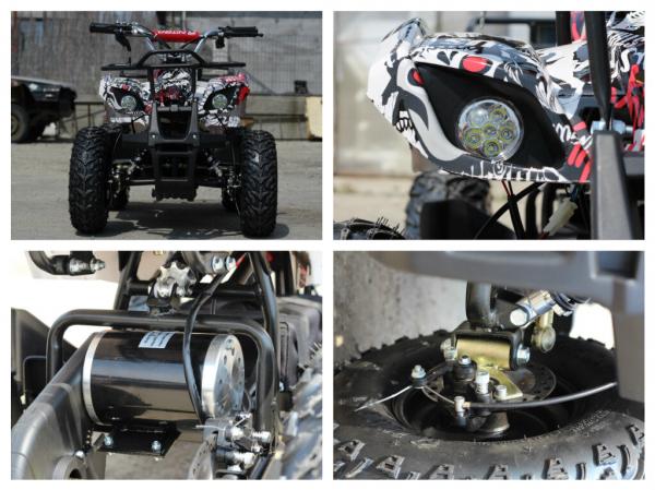 Mini ATV electric pentru copii NITRO Torino Quad 1000W 48V #Alb 8