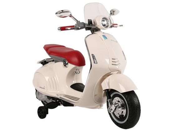 Scuter electric pentru copii Vespa GTS300 cu scaun tapitat #Alb 1