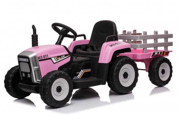 Tractoras electric BJ-611 cu remorca si telecomanda STANDARD #Roz [0]