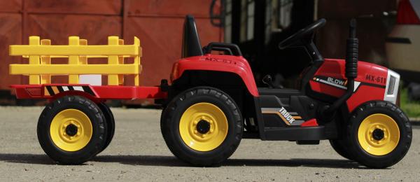 Tractoras electric BJ-611 cu remorca si telecomanda STANDARD #Rosu 3