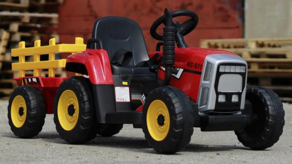 Tractoras electric BJ-611 cu remorca si telecomanda STANDARD #Rosu 1