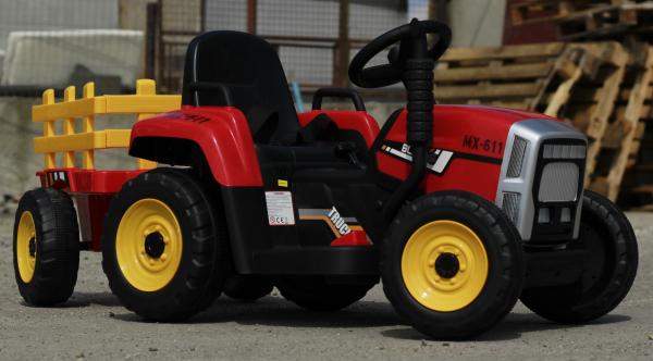 Tractoras electric BJ-611 cu remorca si telecomanda STANDARD #Rosu 2
