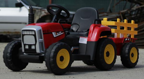 Tractoras electric BJ-611 cu remorca si telecomanda STANDARD #Rosu 9