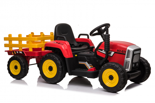 Tractoras electric BJ-611 cu remorca si telecomanda STANDARD #Rosu 0