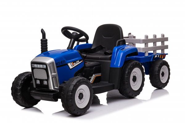 Tractoras electric BJ-611 cu remorca si telecomanda STANDARD #Albastru 0