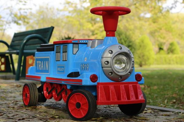 Trenulet electric pentru copii SX1919 90W 12V STANDARD #Albastru 11