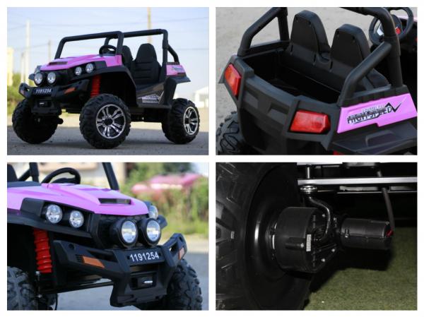 UTV electric pentru copii Golf-Kart 4x45W 2x12V PREMIUM #Roz 7