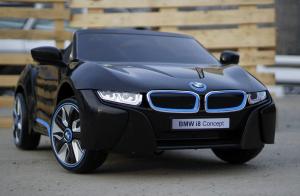 Masinuta electrica BMW i8 2x 35W 12V cu Scaun TAPITAT #Negru2