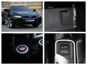 Masinuta electrica BMW i8 2x 35W 12V cu Scaun TAPITAT #Negru8