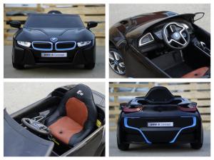 Masinuta electrica BMW i8 2x 35W 12V cu Scaun TAPITAT #Negru7