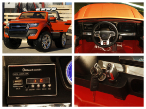 Masinuta electrica Ford Ranger 4x4 cu ROTI MOI 4x45W #Portocaliu3