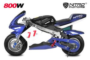 Mini Motocicleta electrica pentru copii NITRO Eco Pocket Bike 1000W #Albastru0