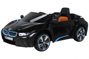 Masinuta electrica BMW i8 2x 35W 12V cu Scaun TAPITAT #Negru0